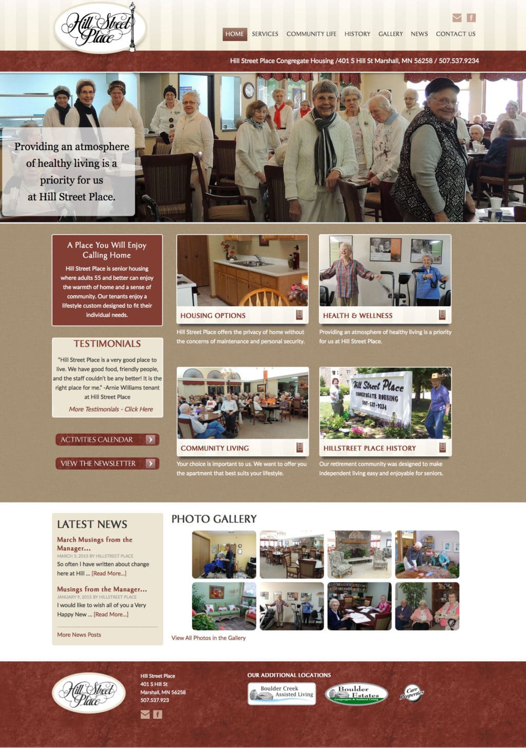 Hill Street Place Congregate Living Website Design